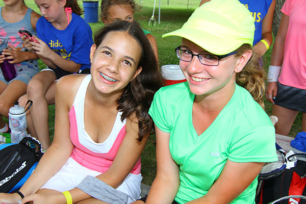 Tennis Camps - Campers On Bleachers